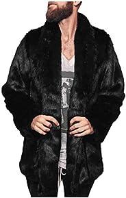 OMINA Mens Faux Fur Coat Jackets with Hood, 2020 Fashion Casual Winter Warm Windproof Fleece Fluffy Slim Fit C