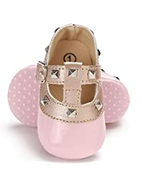 Aunavey Baby Girls Soft Sole T-Strap Rivet Studded Mary Jane Princess Shoes