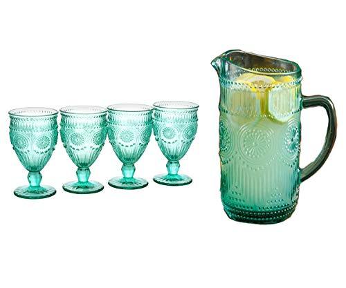 - The Pioneer Woman Adeline Embossed 12oz Footed Glass Goblets, Set of 4 and 1.59-Liter Glass Pitcher in Turquoise