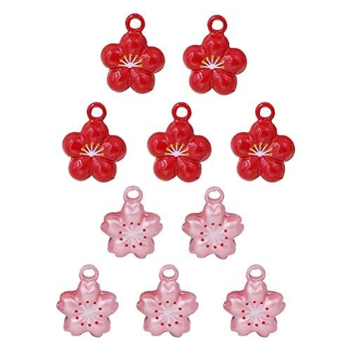 Exttlliy 10Pcs Flower Shape Copper Mini Jingle Bells for Christmas Decoration/DIY Bracelet Anklets/Pets/Arts Crafts (Pink + Red)