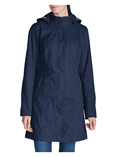 (Eddie Bauer Women's Girl on The Go Trench Coat, Deep Indigo Petite M Petite)