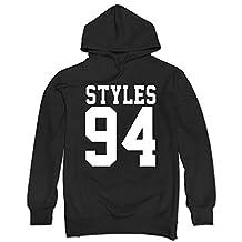 GLMIHOF Men's Harry Styles 94 One Direction 1D Zayn Malik Hoodie-Black