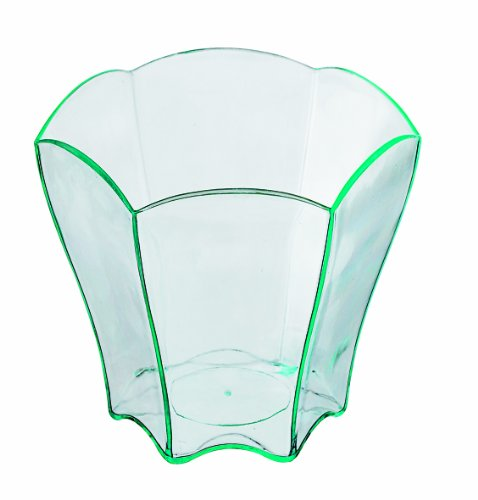PacknWood Flower Shaped Transparent Green Plastic Cup, 2 oz. Capacity  (Case of 600)