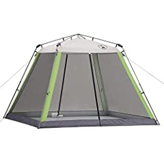 Enjoy reliable shelter from the sun, wind, and insects with the Coleman Instant Screenhouse, 10 x 10 Feet. Great for picnics, barbecues, campouts, and more, this screened canopy is made with UV Guard material that offers UPF 50+ protection fr...