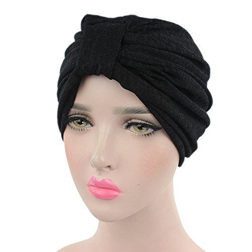 Ever Fairy Women's Ruffle Beanie Scarf Head Scarf Hat Cap Ethnic Cotton Printed Twist Pleated Turban Headwear Muslim headscarf (Black)