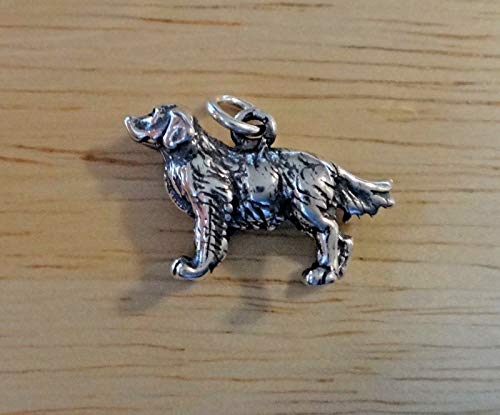 Golden Retriever Dog Charm Sterling Silver 3D Pendant - Jewelry Making Supply by Charm Crazy