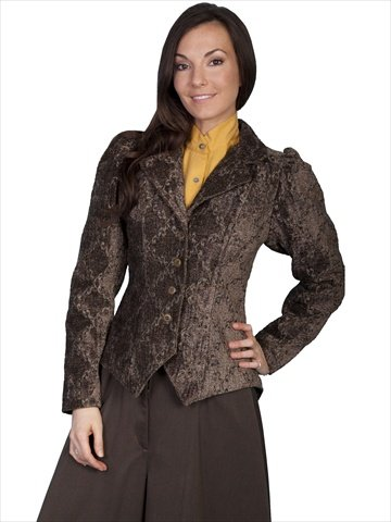 Victorian Blouses, Tops, Shirts, Vests Scully Tapestry Figure Friendly Ladies Jacket - Brown $165.00 AT vintagedancer.com