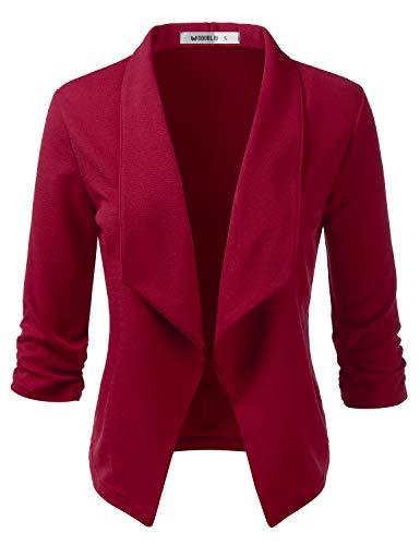 CLOVERY Women's 3/4 Sleeve Casual Work Knit Office Blazer Jacket Burgundy L