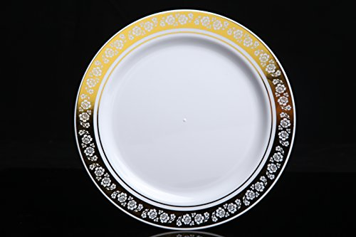 """Home Value 7.5"""" Elegant Round Plastic Dinner Plates, White and Gold, 120 Count"""