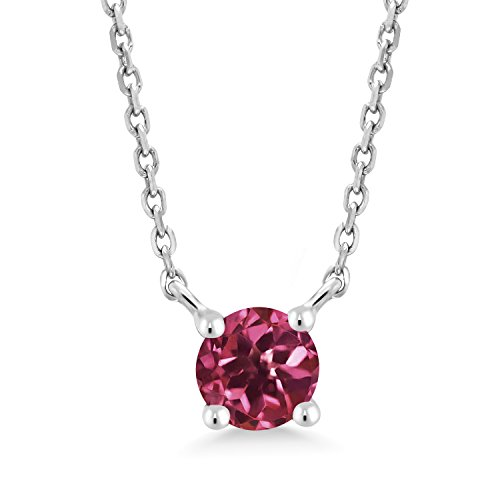 5mm Round Multi Stone Pendant - 0.24 Ct Round Pink Tourmaline 10K White Gold 5MM Solitaire Pendant Necklace