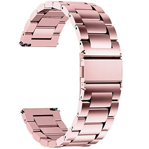 Fullmosa Quick Release Watch Band, Stainless Steel Watch Strap 16mm, 18mm,19mm,20mm,22mm or 24mm, 18mm Rose Gold (Ladies Gold Band Watch)