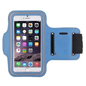 Light Blue Armband Exercise Workout Case with Keyholder for Jogging fits Huawei Ascend Mate 2. For Arms up to 12 inches big.