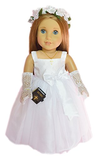 My Brittany's Catholic Communion Gown/ Wedding Dress for American Girl Dolls-Green Floral Wreath Veil-Tights-Shoes-Bible-Cross Necklace-Gloves American Girl Floral Dress