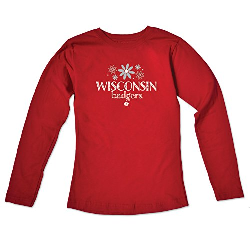 College Kids NCAA Wisconsin Badgers Girls Long Sleeve Tee, Size 8-10 /Small, - Cotton Shorts Badger