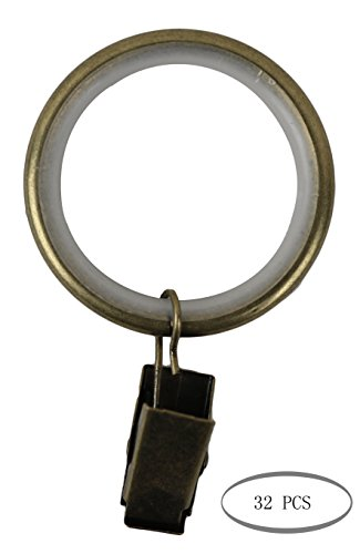 Urbanest Set of 32 Curtain Drapery Rings with Clips, 1.5-inch Inner Diameter, Nylon Insert Quiet Smooth, Antique Brass ()