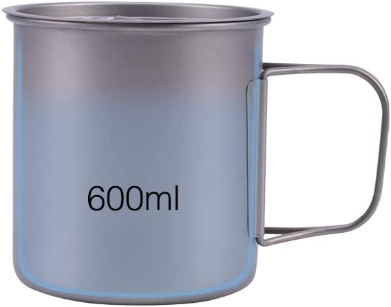 Musk Online Shop - Taza de titanio con tapa (350 ml/400 ml/600 ml, mango plegable, ultraligera, para camping, senderismo, escalada, viajes, ciclismo, correr, uso diario