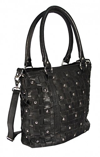 Navarro - Leder Shopper Schultertasche mit Nieten Studed Vintage URBAN BAG Washed Damen Handtaschen 45x31x16 cm (B x H x T), Farbe:beige Schwarz