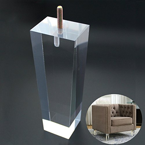Replacement Legs Square Acrylic Sofa Feet 8 inch Stand legs for Bed Side Table Night Table Cupboard Antique Modern Furniture Decor Clear Glass Pack of 4 by AORYVIC