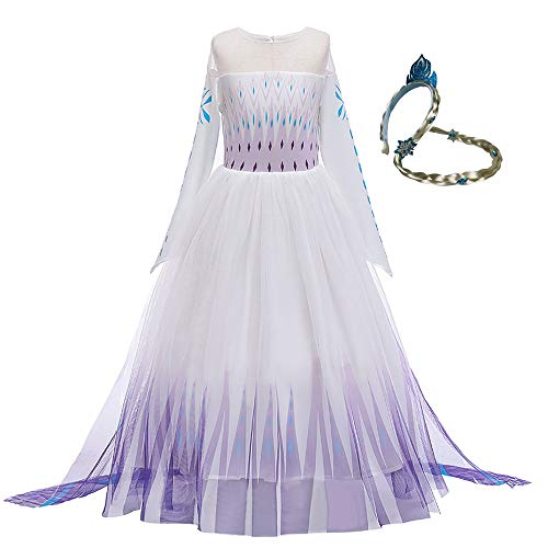 Meisjes Prinses Witte Jurk Kostuum Mesh Rok Koningin Lange Mouwen Outfit Fancy Up Jurken voor Kids