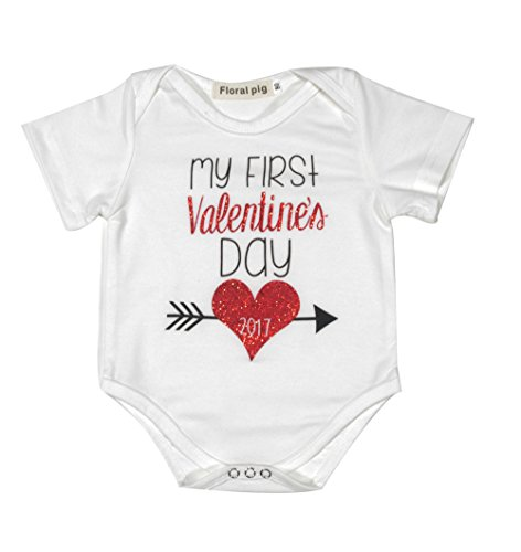 Newborn Baby Boys Girls First Valentine's Day Short Sleeve Bodysuits Rompers Outfits (6-12M, white) (Valentines Outfits For Baby Girls)