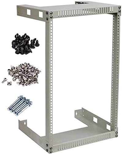 KENUCO White 25U Wall Mount Open Frame Steel Network Equipment Rack 17.75 Inch Deep – W19 x D17.75 x H47.25 – White – 25U