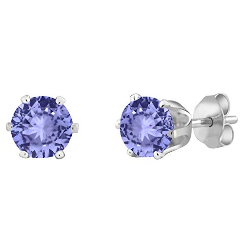 Voss+Agin 14K White Gold 1.00CTW Genuine Tanzanite Stud Earrings, 5mm - Gold Tanzanite Earrings