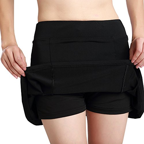 Women's Active Athletic Skort Lightweight Skirt With Pockets For Running Tennis Golf Workout #035/Black/US L by Toomett