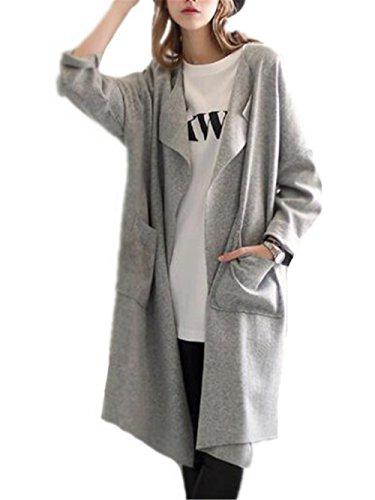 Chaquetas Abrigos Sencillos Largo Gray Casuales Larga Mujer Con BESTHOO Outwear Manga Coat Tops Clasicos Abrigos Bolsillo Cardigan SÓLido Elegantes Color XnwYxvxR