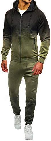 SUMTTER Tuta Uomo Sportive Autunno Tute da Ginnastica Tuta Felpata Hooded e Zip+Pantalone Trekking Set Cappotto Uomo Manica Lunga