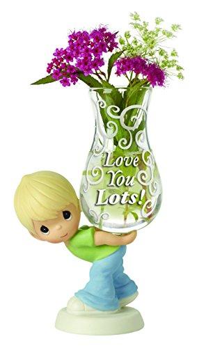Precious Moments, Love You Lots! Glass Bud Vase, Bisque Porcelain Figurine, Boy 154006