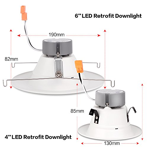 6'' Inch LED Can And Trim Combo -12W New Construction Insulation Contact IC Rated Downlight - UL and Energy Star Rated (5000 Kevin, 2 Each) by Bybon (Image #5)