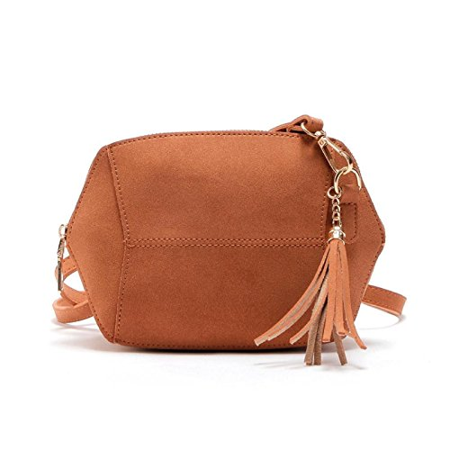 Brown Oval Chain Bag Leather Women Owill Shoulder Shape Handbag Satchel Strap HUSfFqx