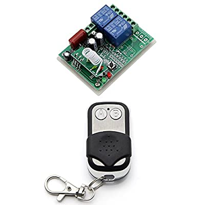eMylo 10A AC 220V 1000W 2 Channel Smart Wireless Remote Control Switch Inching Self-locking Black Transmitter
