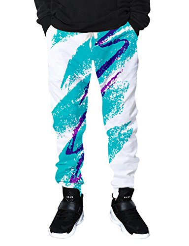 RAISEVERN Unisex Jazz Solo Cup Print Drawstring Elastic Waist Sweatpant Tracksuit Hip Hop Gym Jogger Pants,2017 Style 1,Large Striped Baseball Pant