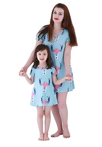OMZIN Girls' Dress Short Sleeves Mini Dress Lovely Dress Girl 7-8 Years for $<!--$14.99-->