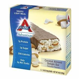 Atkins Advantage Snack Bars, 5 pk, Coconut Almond Delight 1.6 oz pack of 3