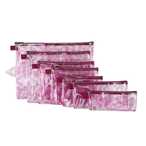 Travelon Set of 7 Packing Envelopes, Berry Leaf Screen