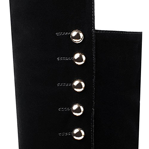 DecoStain Women's Faux Suede Nubuck High Heel Fashion Boots Black 3IyIVr865