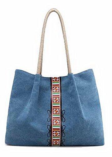 VogueZone009 Mujeres ToteStyle Moda Lona Bolsas de Mano Casual Comprador,CCAYBP180650 Azul