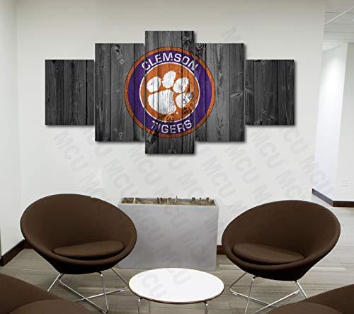 5 Piece American Football College University Teams Art Decor Wall Poster (5 Piece Medium, Clemson Tigers)