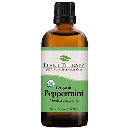 Plant Therapy Peppermint Organic Essential Oil | 100% Pure, USDA Certified Organic, Undiluted, Natural Aromatherapy, Therapeutic Grade | 100 Milliliter (3.3 ()