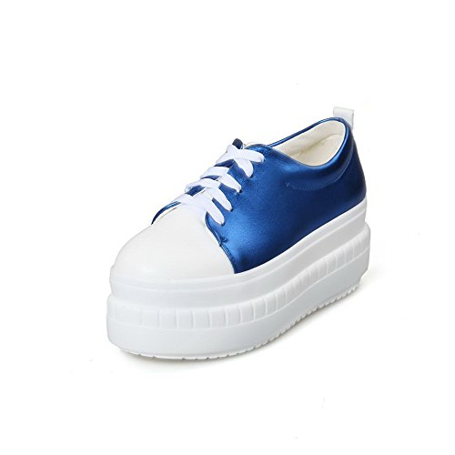 Allhqfashion Womens Lace Up Toe Fermé Orteil Chaton Talons Assorties Couleur Pompes-chaussures Bleu
