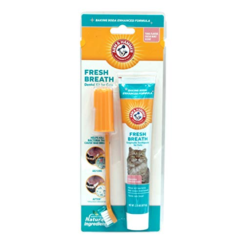 Arm & Hammer Dog Dental Care Dental Kit for Cats eliminates Bad Breath | 3 Piece Set Includes Toothpaste, Toothbrush & Fingerbrush | Tuna Flavor ()
