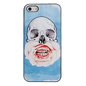 SJT Skull with Rose Planted Mouth Pattern PC Hard Case with Black Frame for iPhone 5/5S