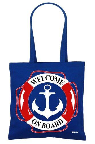 borsa di di welcomenbsp; plastica cotone busta borsone colore blu bordo juta a di in benvenuto Bagzilla Rq4z81x78