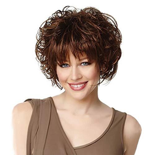 Goquik Wigs European and American Fashion Rose Net Fluffy Short Curly Brown Qi Liu Hai Ladies Wig ()