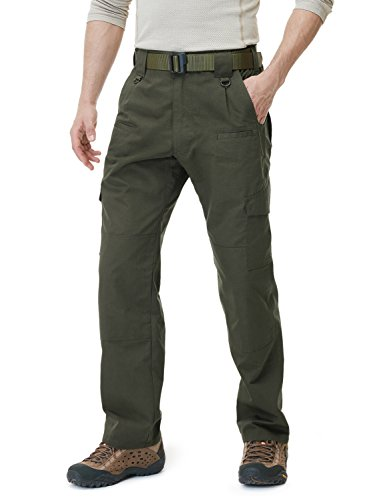 CQR CQ-TLP104-GRN_30W/32L Men's Tactical Pants Lightweight EDC Assault Cargo TLP104