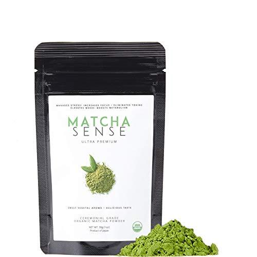 Matcha Sense - Organic Matcha Green Tea Powder Ceremonial Grade - Energy, Detox, Japanese Origin, Pure & Unsweetened - Easy Resealable Pouch - 30g Starter Size