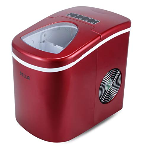 Della Portable Ice Maker w/Easy-Touch, Yield Up To 26 Pounds of Ice Daily (Red)