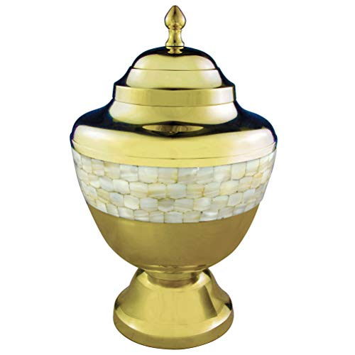 Brilliance Nickel Metal Pearl - Funeral Urn by Meilinxu - Cremation Urns for Human Ashes Adult and Memorial - Hand Made in Brass & Hand Engraved - Display Burial Urn at Home or in Niche at Columbarium (Mother of Pearl Large Urn